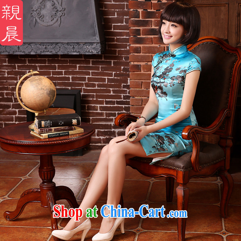 The pro-am 2015 as soon as possible new summer day retro improved sauna silk stylish short Silk Cheongsam dress short-sleeved S - waist 67 CM