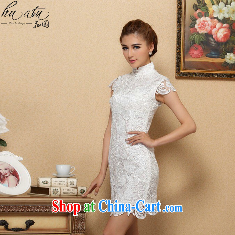 Take the spring and summer cheongsam dress Chinese, for high-end imported water-soluble lace dresses retro bows short cheongsam dress white S