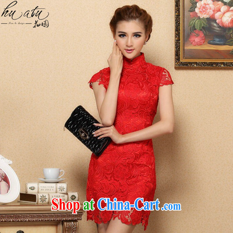 Dan smoke-free spring and summer cheongsam dress Chinese, for high-end imported water-soluble lace dresses retro bows short cheongsam dress red 2 XL