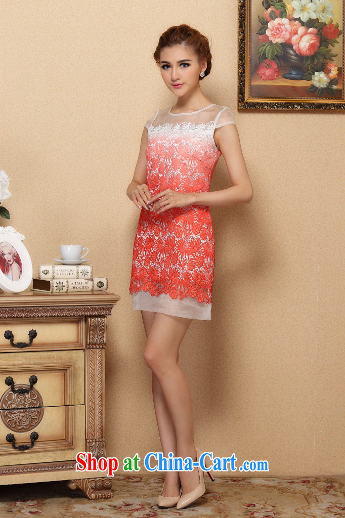 Take the 2015 spring and summer cheongsam dress stylish classic improved cheongsam silk European root by water-soluble gradient cheongsam dress, collar XL pictures, price, brand platters! Elections are good character, the national distribution, so why buy now enjoy more preferential! Health