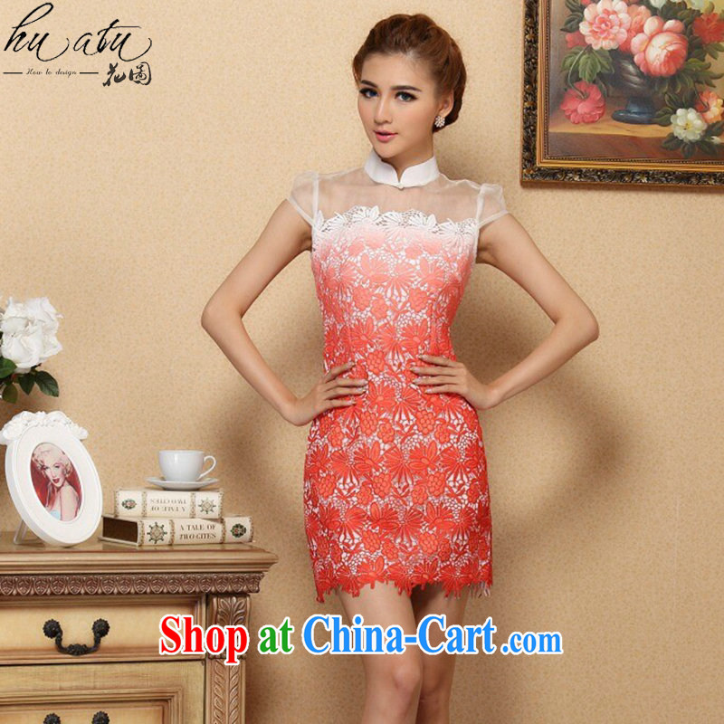 Take the 2015 spring and summer cheongsam dress stylish classic improved cheongsam silk European root by water-soluble gradient cheongsam dress, collar XL