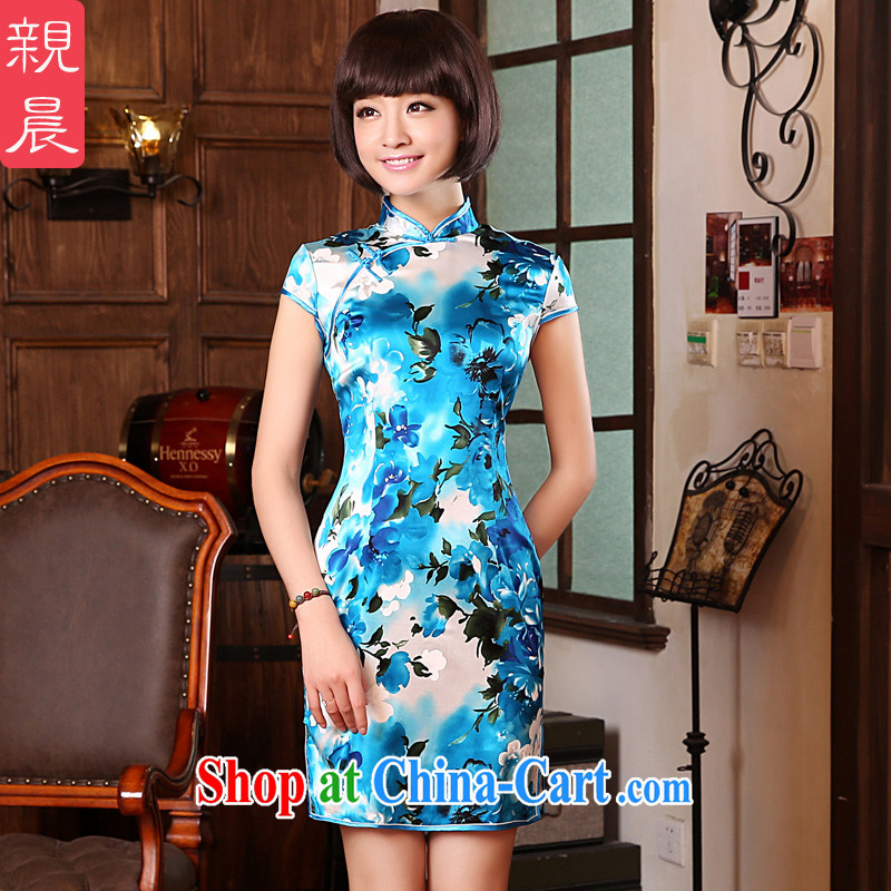 pro-am 2015 new spring and summer with a short dos Santos, silk Daily High silk retro beauty cheongsam dress short-sleeved 2XL - waist 83 CM