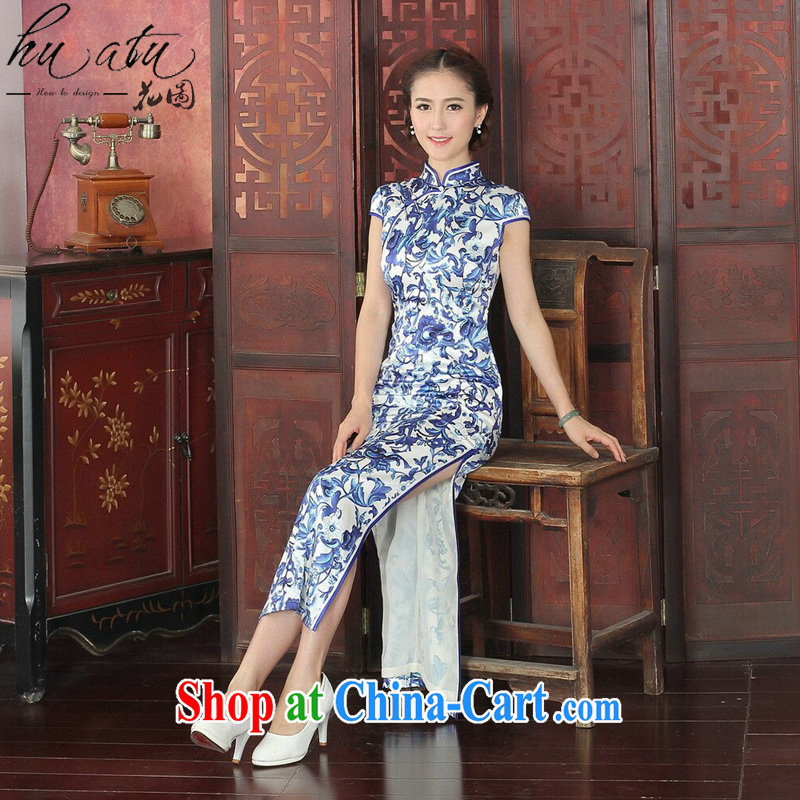 Take the 2015 spring and summer dress cheongsam Chinese, DOS SANTOS for silk banquet long cheongsam qipao annual Silk Cheongsam long 1023 _2 XL
