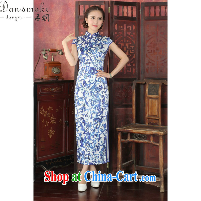 Bin Laden smoke 2015 spring and summer clothes qipao Chinese, dos Santos for silk banquet long cheongsam qipao annual Silk Cheongsam long 1023 _2 XL