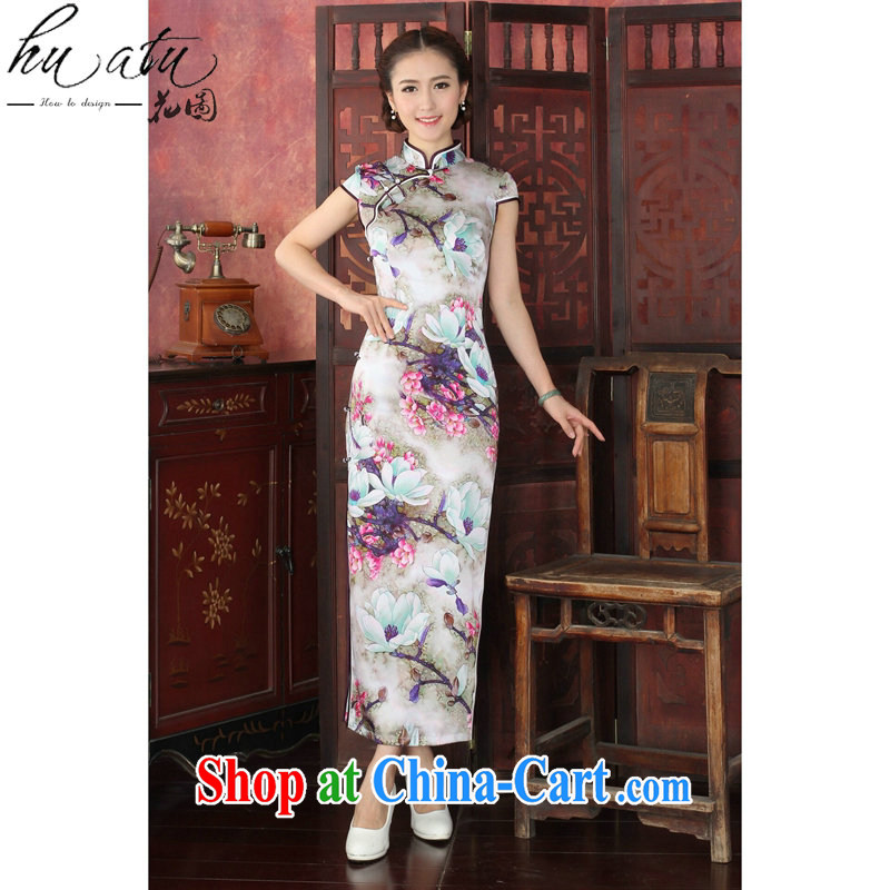 Take the 2015 new female Silk Cheongsam Chinese, DOS SANTOS for silk tulip elegant banquet long cheongsam dress 1027 _2 XL