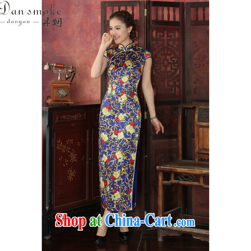 Dan smoke 2015 spring and summer dress cheongsam Chinese silk long robes, for performance sauna Silk Cheongsam dress annual Po Lan XL