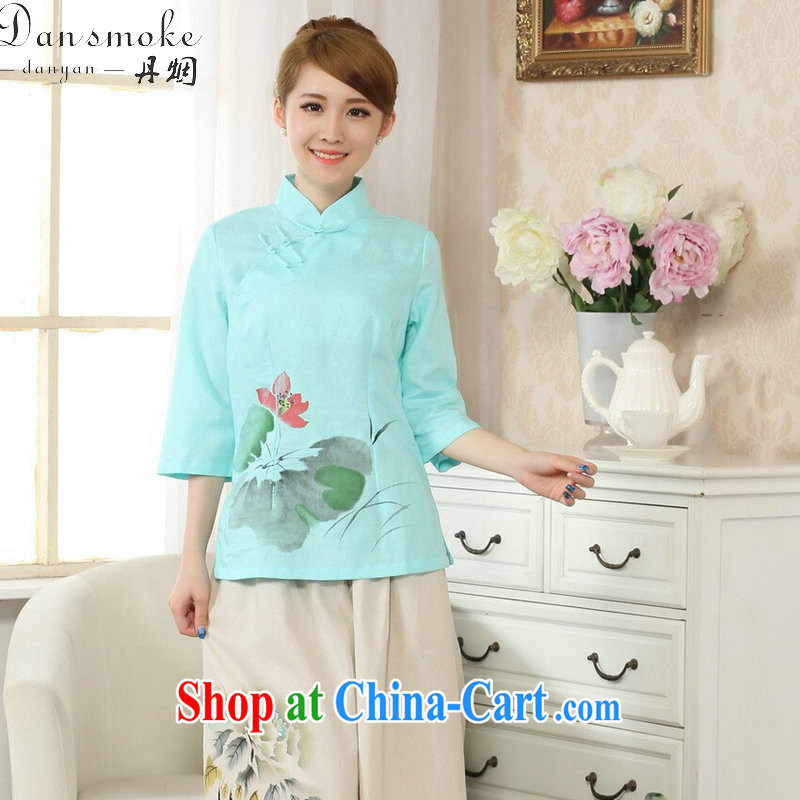 Dan smoke-free spring and summer new hand-painted dresses T-shirt, cotton for the linen Chinese Ethnic Wind female Tang is improved - C 2 XL