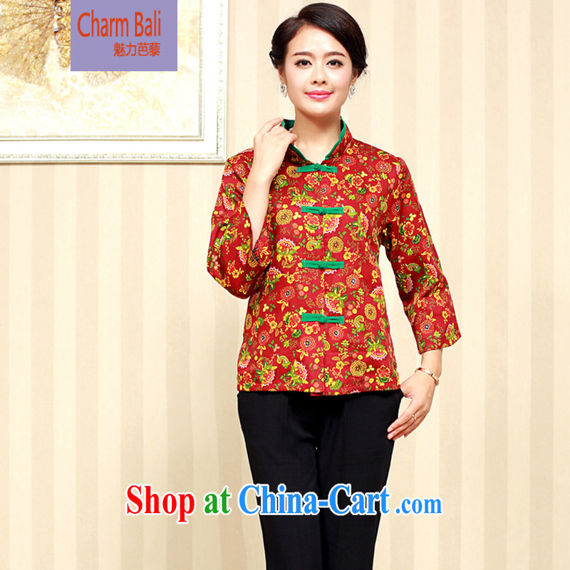 2015 spring girls decorated in stylish cotton older Chinese T-shirt FGRS maroon XXL