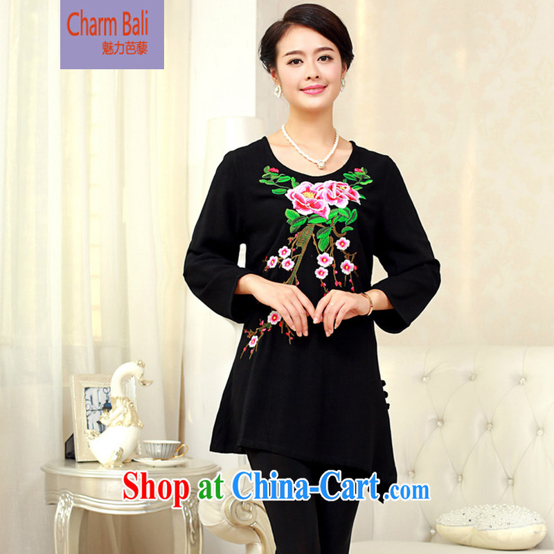 2015 spring girls decorated in old cotton embroidered Chinese T-shirt FGRS black XXXL