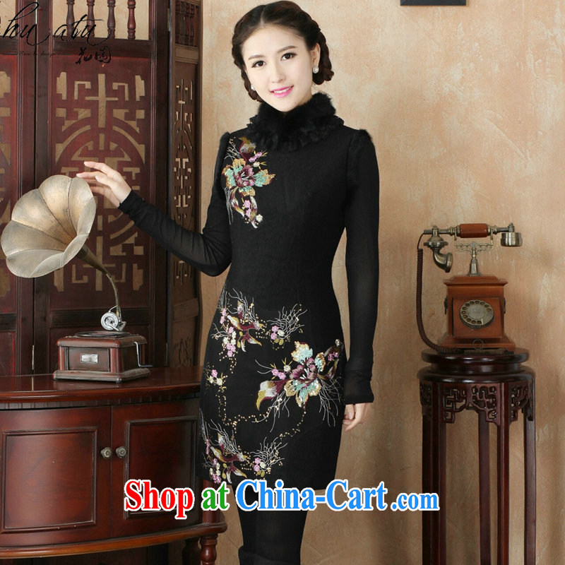 Take the dresses winter 2015 new retro improved stylish rabbit hair for warm clothes daily folder cotton cheongsam dress black fine 3 XL