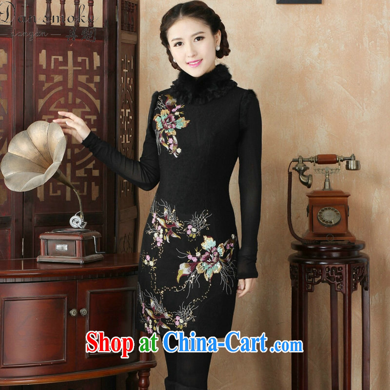 Bin Laden smoke dresses winter 2015 new retro improved stylish rabbit hair for warm clothes daily folder cotton cheongsam dress black fine 3 XL
