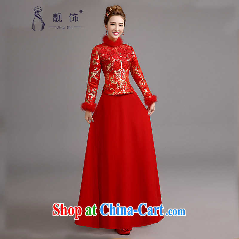 2015 new cheongsam toast Service Bridal red retro dresses lace bows serving long cheongsam red winter, be sure to contact Customer Service