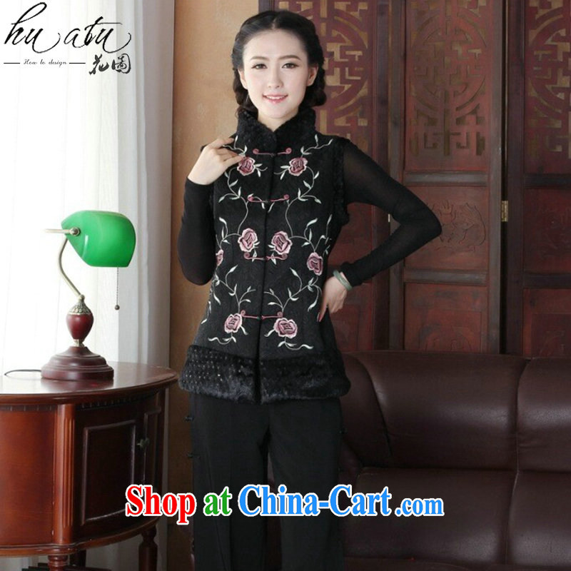 Spend the autumn and winter, new Ethnic Wind female Chinese, embroidery for improved disk for Chinese ladies T-shirt, a figure-color 2 XL
