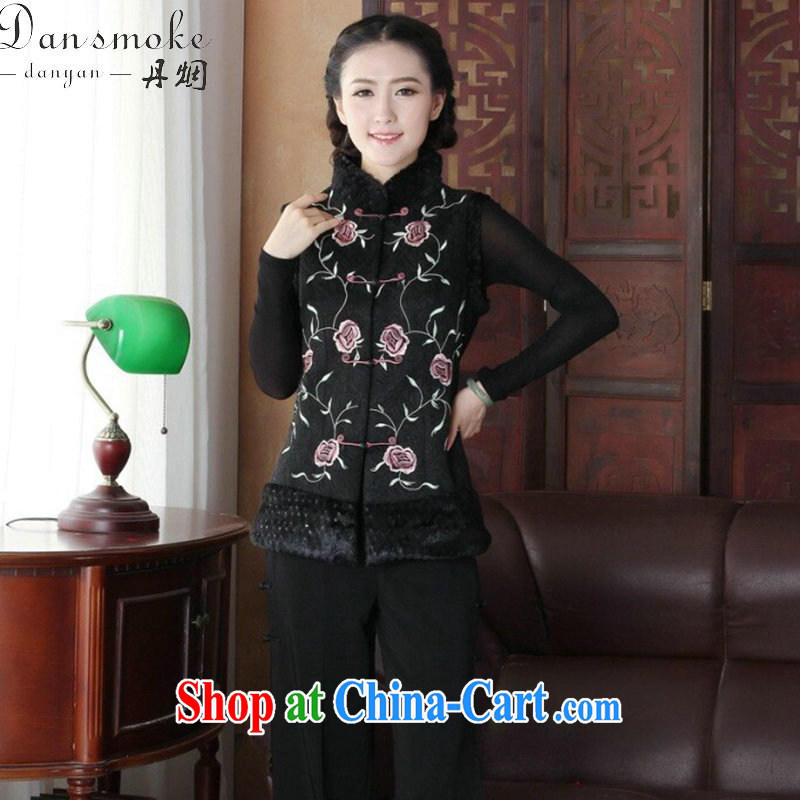 Bin Laden smoke-free fall and winter new Ethnic Wind female Chinese, for embroidered improved the detained Chinese ladies T-shirt, a figure-color 2 XL
