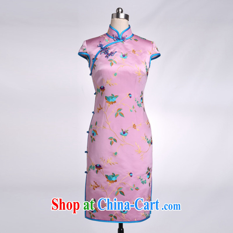 Thus, Cheung base Satin embroidery short qipao,bright colors and retro the forklift truck outfit 100% mulberry silk multi-colored optional pink XXL