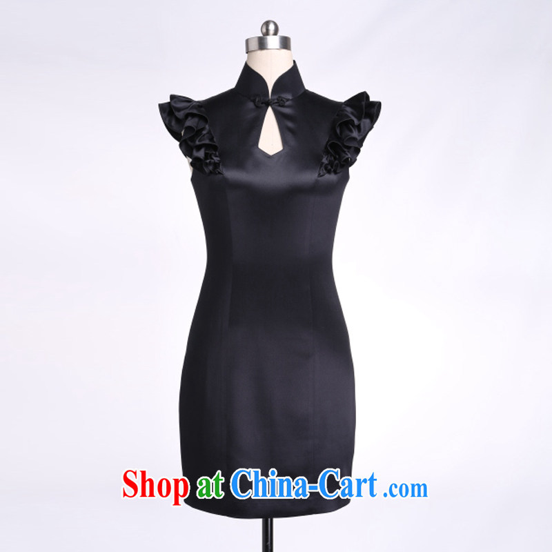 Thus, Cheung silk small dress flouncing cuff 100% silk Satin solid color 2015 cultivating new multi-color optional genuine black L