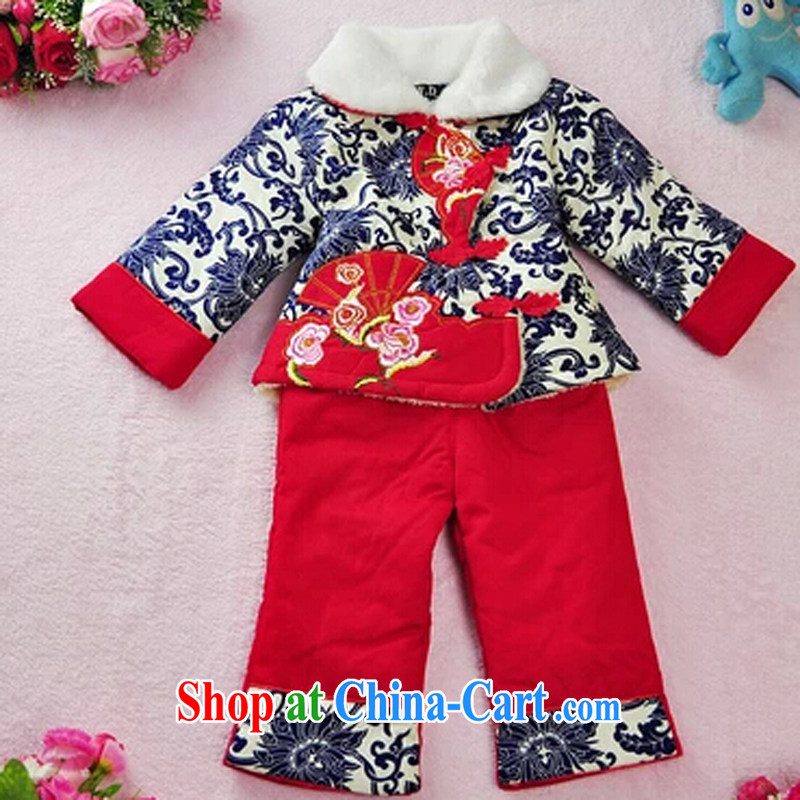 Girls with short winter clothing children's Chinese baby girl cotton and lint-free cotton swab kit kit China wind dress blue and white porcelain blue XXL 2 - 3 years old