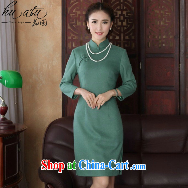 Take the 2015 spring cheongsam dress Chinese, for improved cheongsam stylish graphics thin wool that dresses qipao cheerful long-sleeved 2XL
