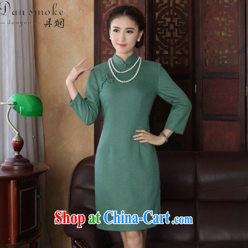 Bin Laden smoke-free 2015 spring cheongsam dress Chinese, for improved cheongsam stylish graphics thin wool that dresses qipao cheerful long-sleeved 2XL