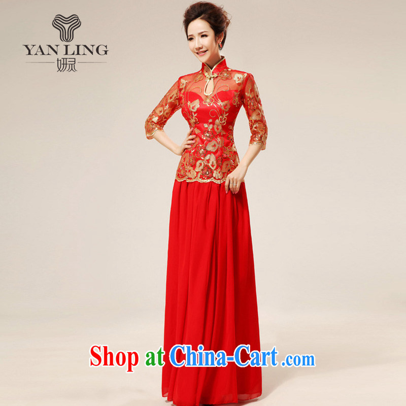 New red retro sexy lace bridal wedding dresses stylish upgraded cuff toast qipao cheongsam 75 XXL