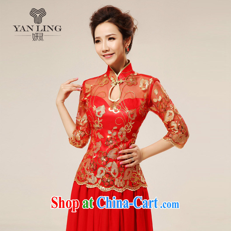 New red retro sexy lace bridal wedding dresses stylish upgraded cuff toast qipao cheongsam 75 XXL, her spirit, and shopping on the Internet