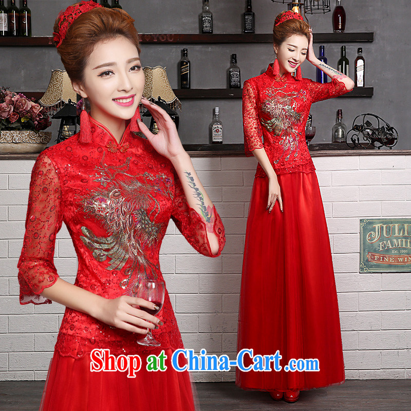 robes bows Service Bridal Fashion 2015 new summer wedding dresses long, long-sleeved, Seo Chinese wedding dress red XXL _3 Day Shipping_