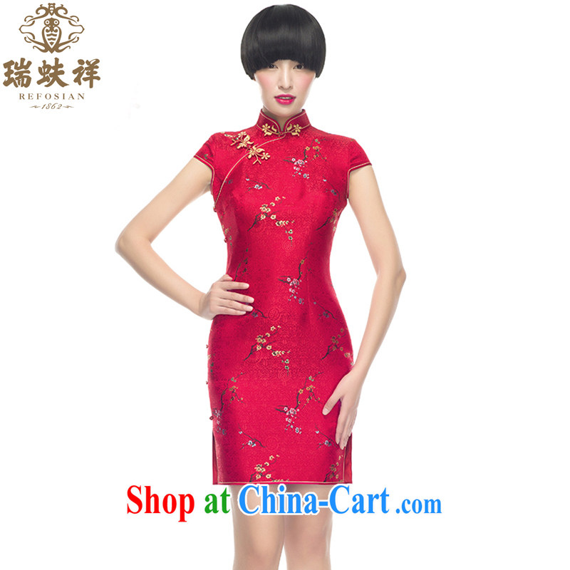 Ryan and Eric LI, genuine Silk Cheongsam short phillips-bad news china red bridal decor, air brocade coverlets short cheongsam S