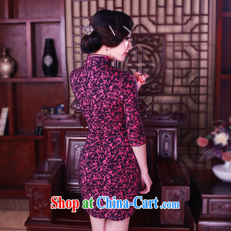ruyi, 2015 stylish new improved stylish cuff in cheongsam dress?retro short paragraph 7 sub-sleeve dresses high fashion dresses of 5043 red M