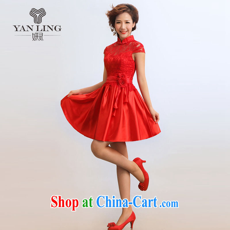 2015 stylish new outfit short, improved stylish summer bride presided over his robes red XL