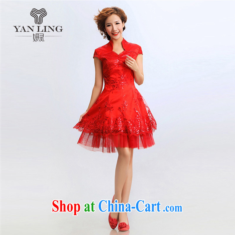 2015 new stylish stars, with a short paragraph improved cheongsam stylish summer bridal wedding dresses S