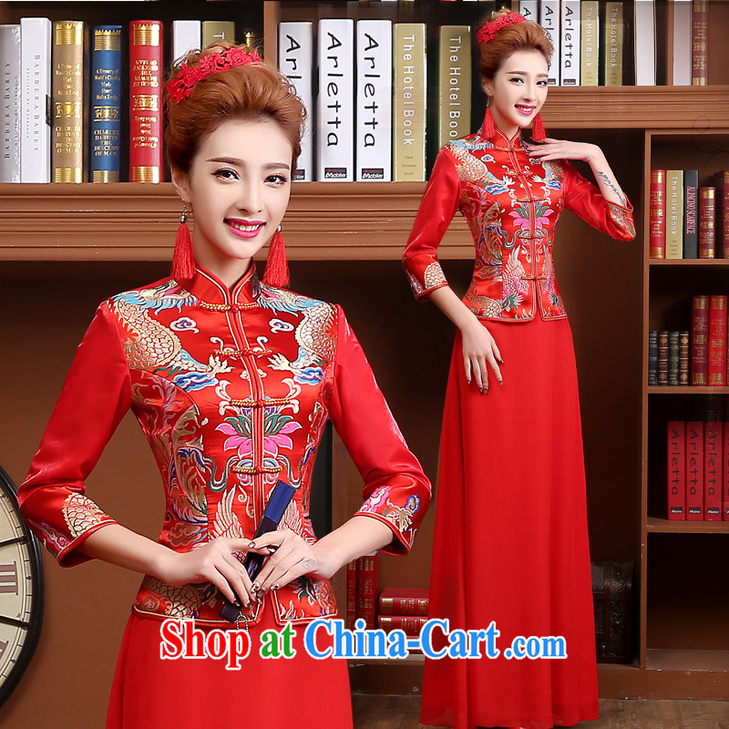 wedding dresses bridal toast serving summer 2015 new stylish Chinese cultivating long-sleeved red dress female Red XXL