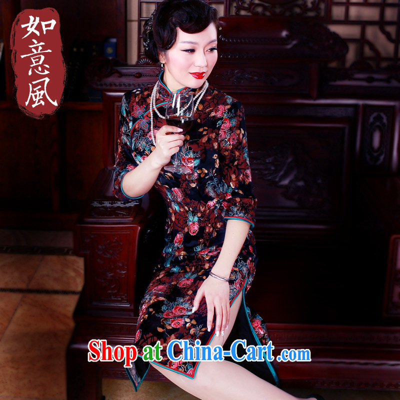 ruyi, 2015 new retro the cuff is improved cheongsam dress long velvet dresses dresses, older dress suit 5046 M