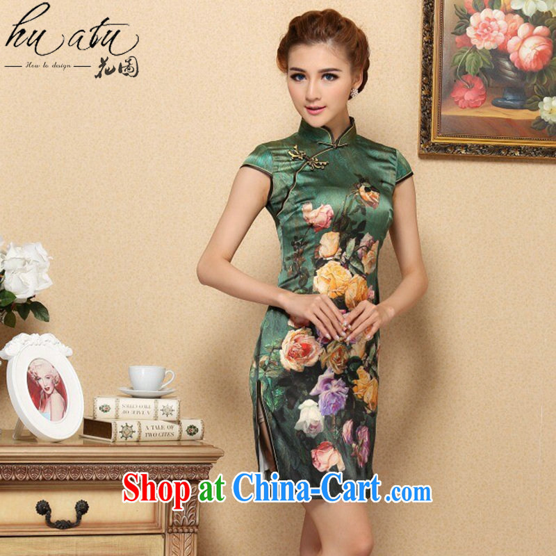 Take the cheongsam dress Chinese modern sauna silk Chinese, for improved cheongsam elegant summer banquet, silk cheongsam green 3XL