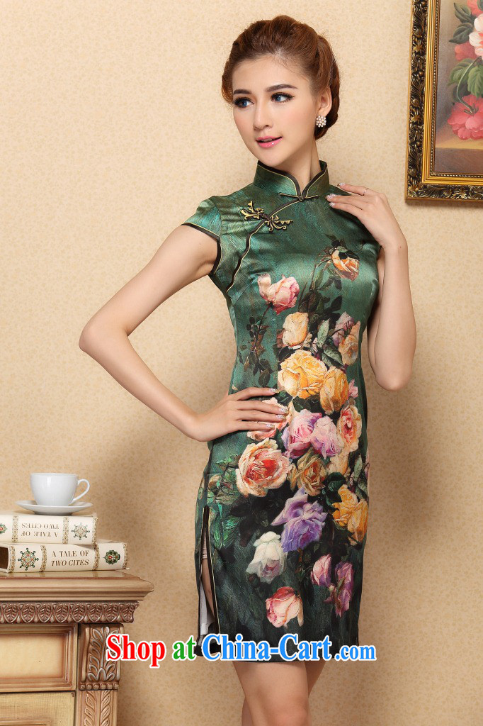 Dan smoke cheongsam dress Chinese modern sauna silk Chinese, for improved cheongsam elegant summer banquet, silk cheongsam green 3XL pictures, price, brand platters! Elections are good character, the national distribution, so why buy now enjoy more preferential! Health