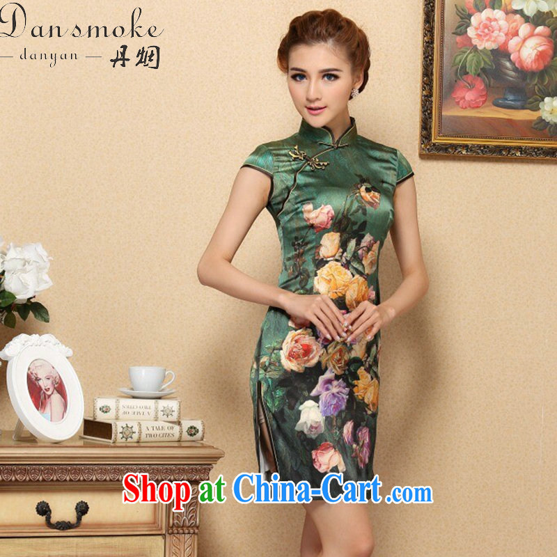 Dan smoke cheongsam dress Chinese modern sauna silk Chinese, for improved cheongsam elegant summer banquet, silk cheongsam green 3XL