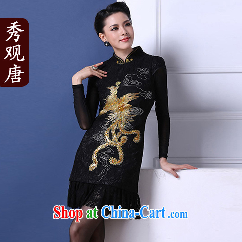 Cyd Ho Kwun Tong Fung Mo winter clothes retro improved stylish winter quilted beauty black lace hand-flower cheongsam dress QM 31,117 black XL