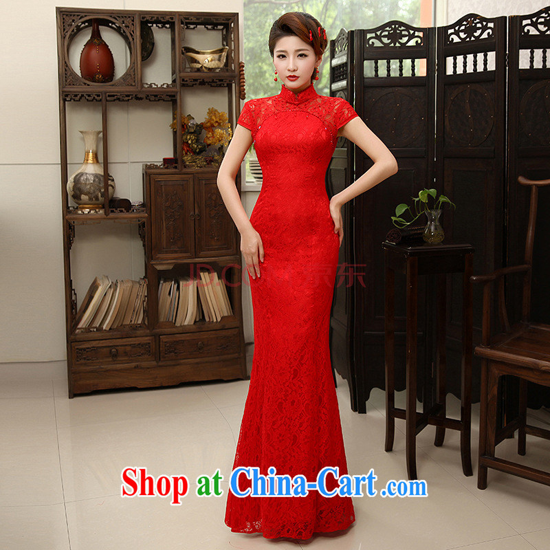 Her spirit/YANLING new Chinese marriages served toast red crowsfoot lace long cheongsam dress girls summer QP - 600 red XL
