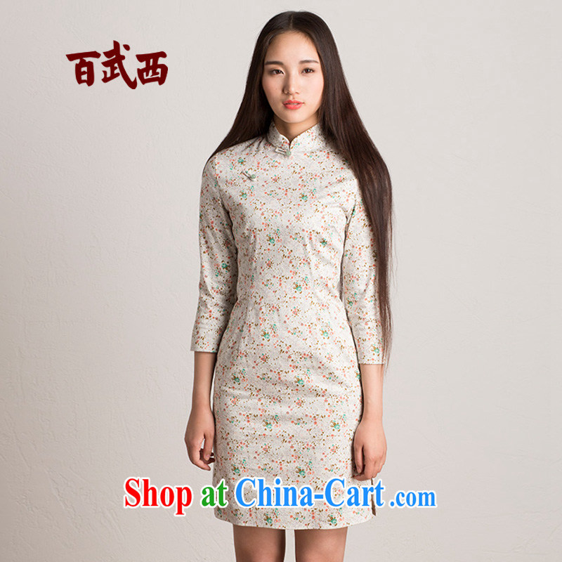 100 � the original 'tracing series' spring 2015 new female retro, for floral beauty T dresses 4129 white floral M