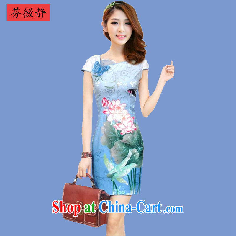 2015 spring and summer new cheongsam dress Stylish retro improved cheongsam dress everyday Chinese dresses winter female 636 Tsing Wanping blue XXL