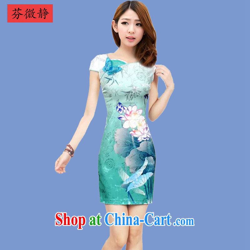 2015 spring and summer, the cheongsam dress and Stylish retro improved cheongsam dress everyday Chinese dresses winter female 636 Tsing Wanping blue XXL, micro-ching, and shopping on the Internet