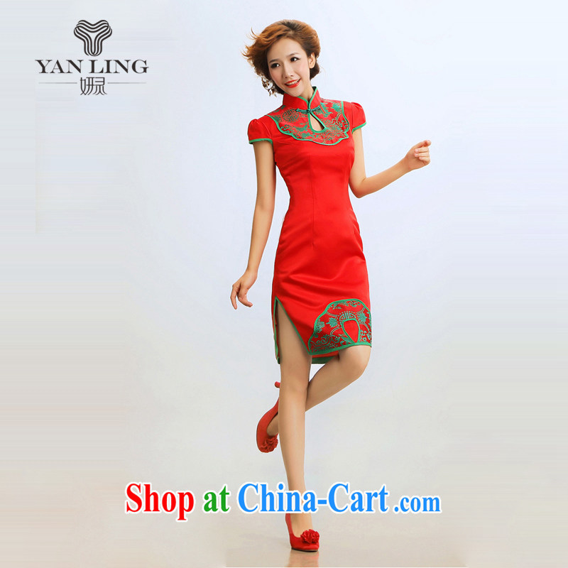 2015 new retro cheongsam dress summer stylish improved cheongsam聽marriages wedding dresses dresses red XXL