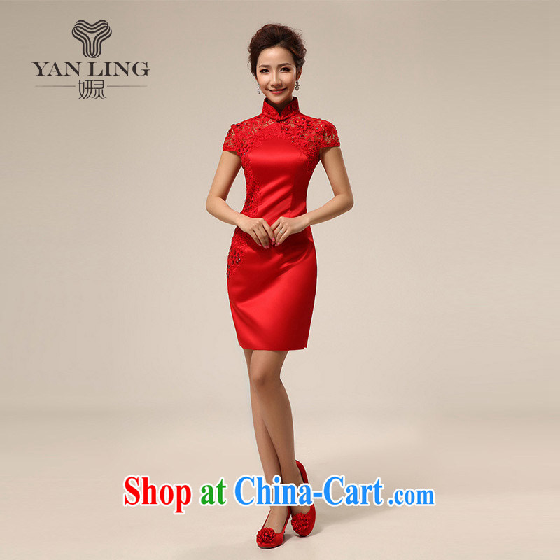 2015 New Red dresses wedding dresses wedding dresses bridal short bows stage dress QP 62 red M
