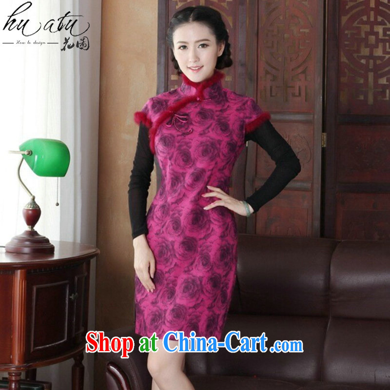 Take the cheongsam dress Chinese New autumn and winter, Chinese collar short, improved fashion cheongsam dress so dress attire such as figure 3XL