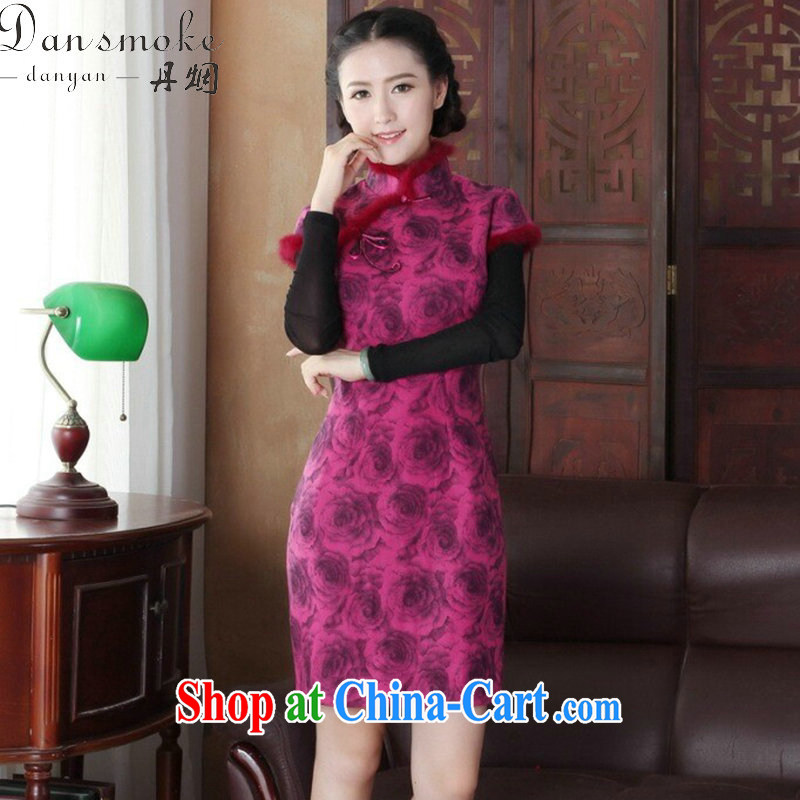Bin Laden smoke cheongsam dress Chinese New autumn and winter, Chinese collar short, improved gross and stylish dresses that skirt dress in figure 3XL