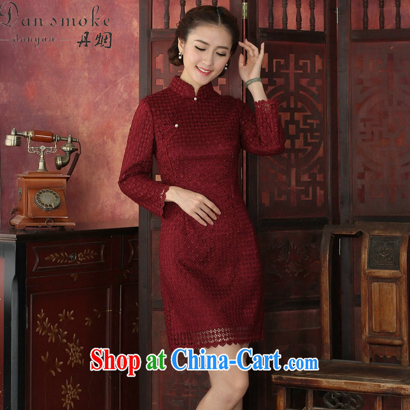 Bin Laden smoke-free 2015 spring cheongsam dress Chinese Chinese style water-soluble lace cheongsam dress, for improved cheongsam dress wine red 3XL