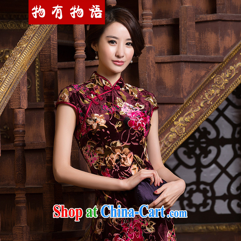 A Chinese qipao improved stylish new 2015 spring sexy beauty daily short-sleeved silk graphics thin short cheongsam dress multi-colored XXL