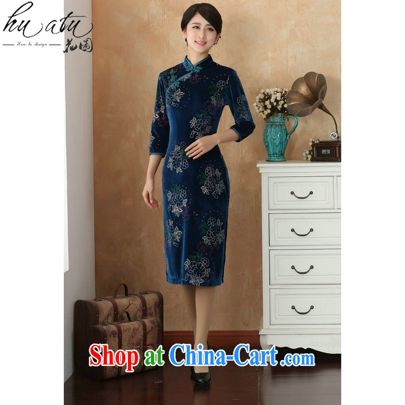 Take the cheongsam Tang Women's clothes Chinese clothing, for improving the lint-free cloth spray flower cheongsam dress cuff in Show dress - 8 2 XL
