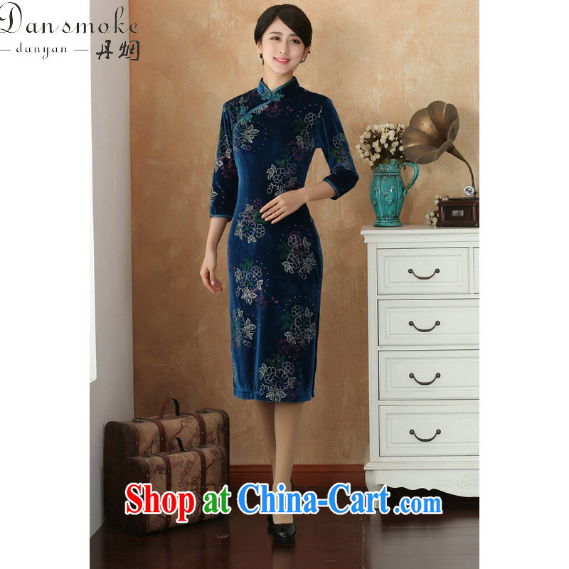 Bin Laden smoke cheongsam Tang Women's clothes Chinese clothing, for improving the lint-free cloth spray flowers cheongsam dress cuff in Show dress - 8 2 XL