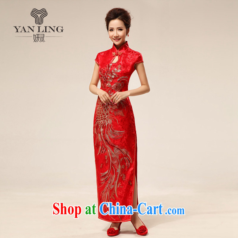 2015 sexy Chinese fashion improved cheongsam bridal retro marriage red qipao cheongsam 63 red XL