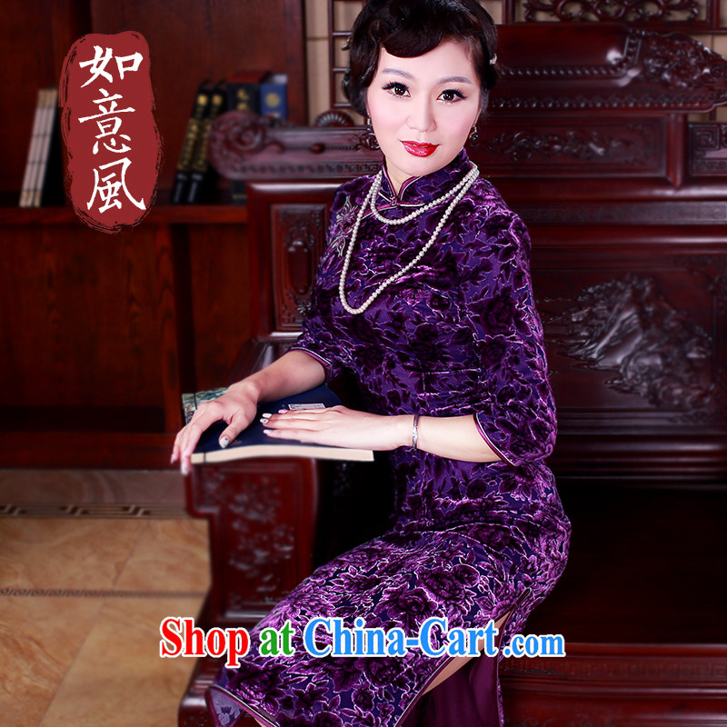 ruyi, 2015 New in the cuff long retro silk high-end Silk Cheongsam beauty dress 5048 purple XL
